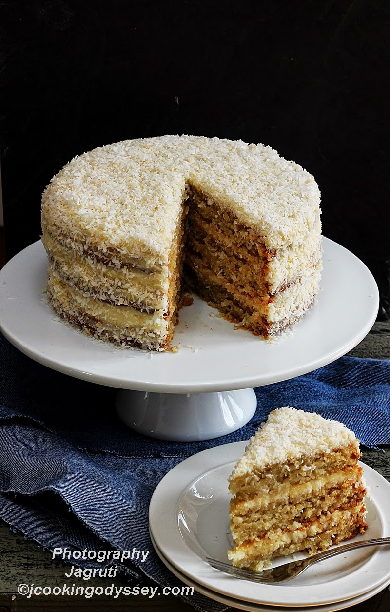 Toasted coconut layered cake with Coconut Buttercream
