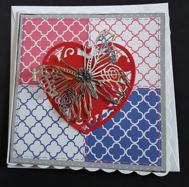 Heart and Butterfly 148mm white card -  Valentine's Day or Just Because..