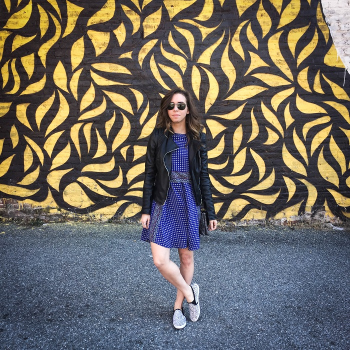 printed dress with slip on sneakers and a leather jacket. | A.Viza Style