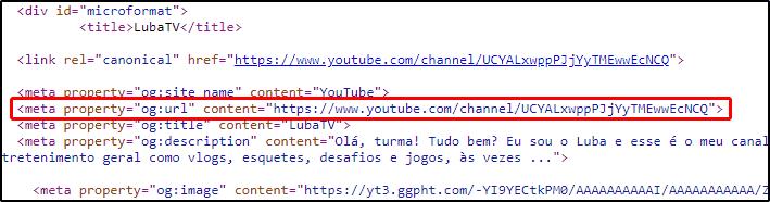 Tag og:url com URL não personalizada do canal