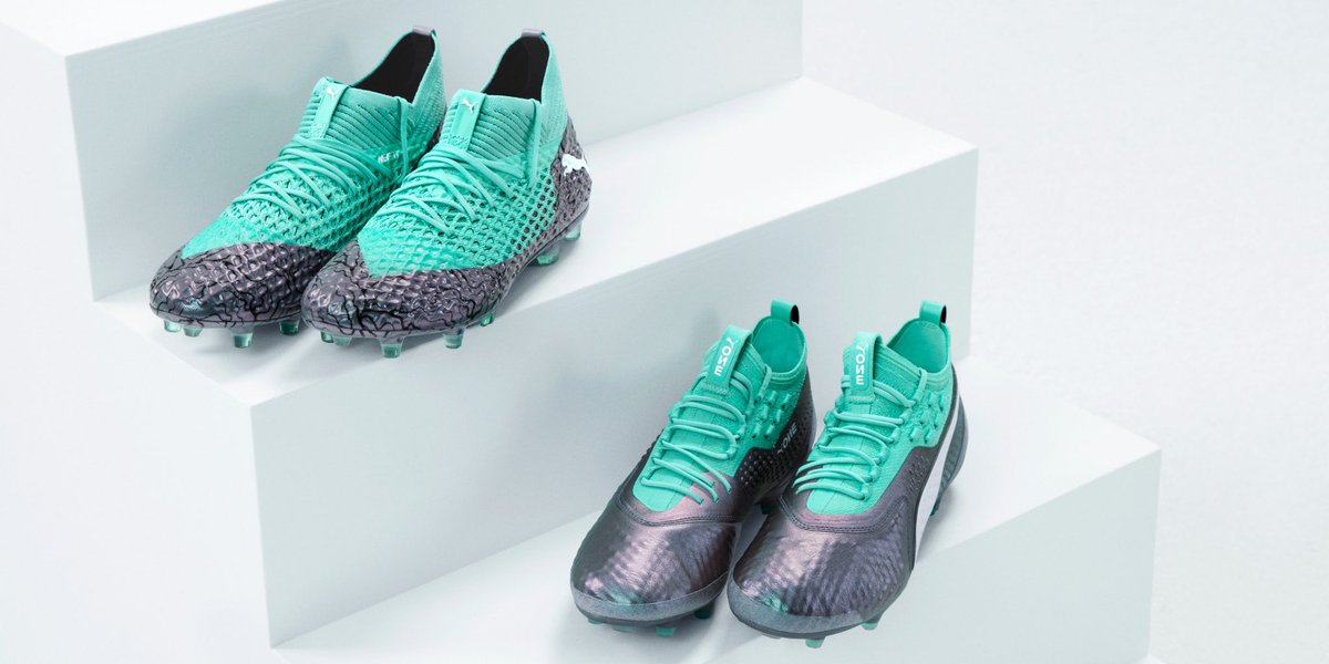 5a172a74a Puma s 2018 World Cup boots pack is silver and turquoise. The collection is  dubbed the Illuminate The Game pack.