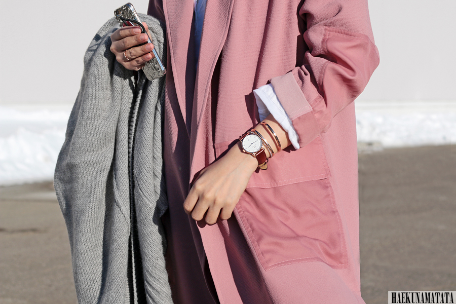 Topshop Duster Coat, Utility Peg Trousers, Daniel Wellington Watches and Cuffs, Long Coat Blogger Style