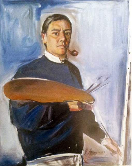 Gabino Amaya Cacho, Self Portrait, Portraits of Painters, Fine arts, Gabino Amaya, Portraits of painters blog, Paintings of Gabino Amaya, Painter Gabino Amaya