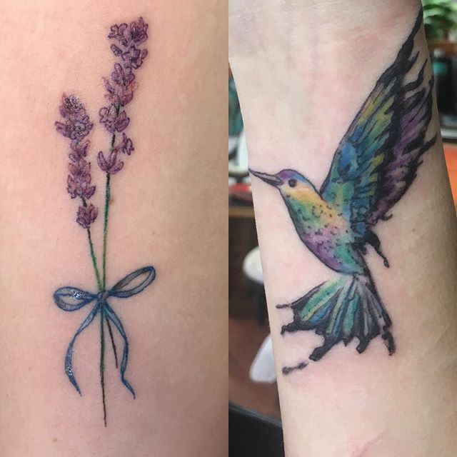 lavender flower and bird tattoo on hand