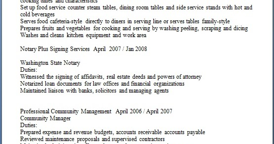 Cook Food Service Worker Resume Format In Word Free Download