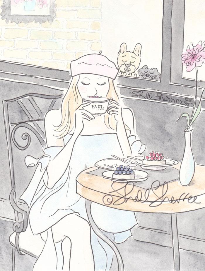Paris Paul illustration Beret Beauty, Frenchie & Kitty © Shell Sherree