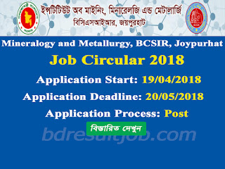 Mineralogy and Metallurgy, BCSIR, Joypurhat Job Circular 2018
