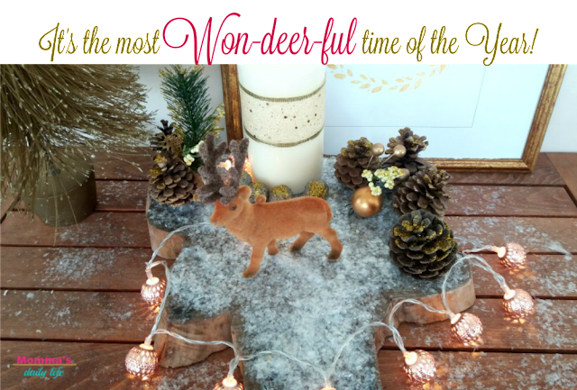 diy xmas centerpiece, deer centerpiece