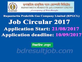 Rupantarita Prakritik Gas Company Limited (RPGCL) job circular 2017