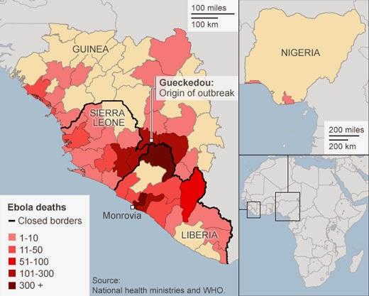 Карта заражения Африки вирусом Эбола