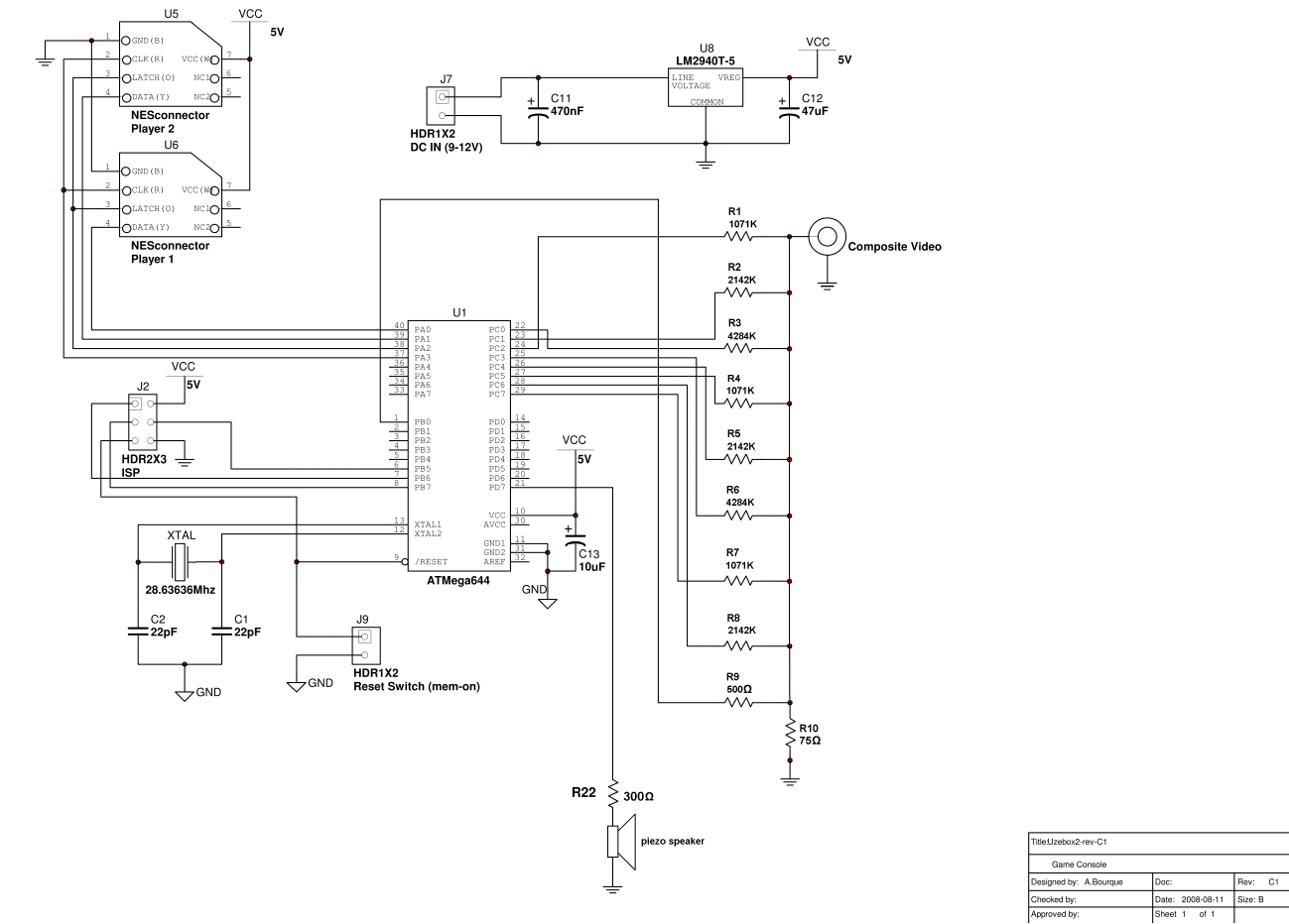 Retro Gaming Beambuilder The Lm324 Quad Comparator Circuit Images Frompo Minimalist Uzebox Schematic Steve Chamberlin