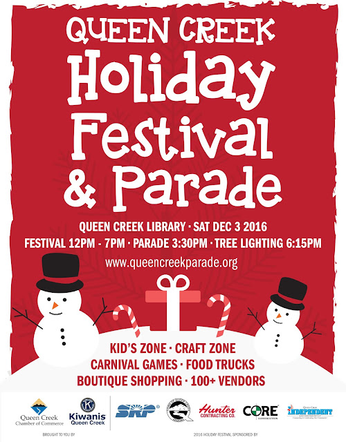 Flyer for QC Holiday Party.  Images of snowmen and holiday decorations.  Text: Queen Creek Holiday Festival and Parade. UEEN CREEK LIBRARY • SAT DEC 3 2016 FESTIVAL 12PM - 7PM • PARADE 3:30PM • TREE LIGHTING 6:15PM www.queencreekparade.org ID'S ZONE • CRAFT ZONE ARNIVAL GAMES • FOOD TRUCKS BOUTIQUE SHOPPING • 100+ VENDORS