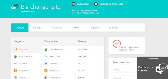 [Лохотрон] Big-Changer: big-changer.site Отзывы? Фальшивы обменник