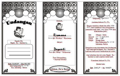 Download Undangan Pernikahan Lipat 3 (Tiga) Bentuk Tidur/ Melebar Fotokopi Gratis