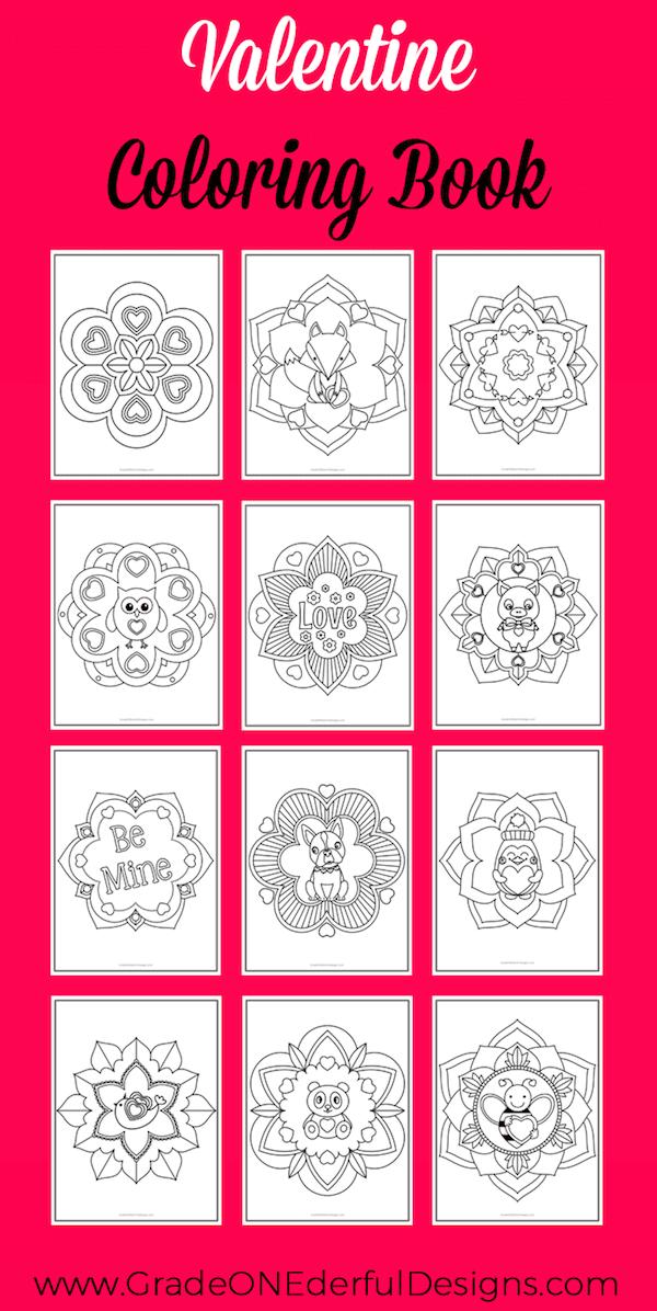 Valentine Mandala coloring book. Perfect for K to Grade 3. 12 unique mandalas with a fun Valentine theme. GradeONEderfulDesigns.com