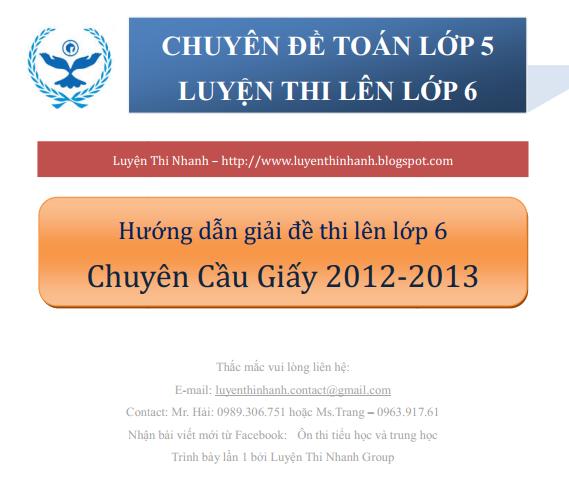 [Đáp án Toán 5] Đề Thi Vào Trường Chuyên Cầu Giấy 2012 - 2013