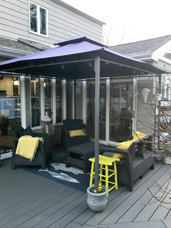Gazebo anchored to the deck with no damage to the Trex