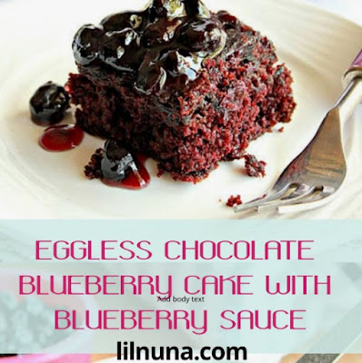 Eggless Chocolate Blueberry Cake With Blueberry Sauce