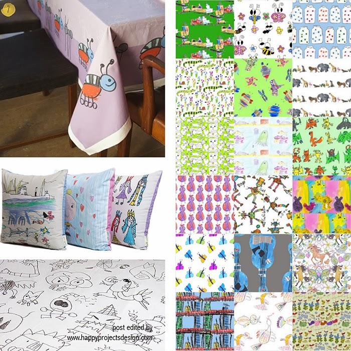 maneras creativas de regalar dibujos de niños: téxtiles, cojines, manteles, tela