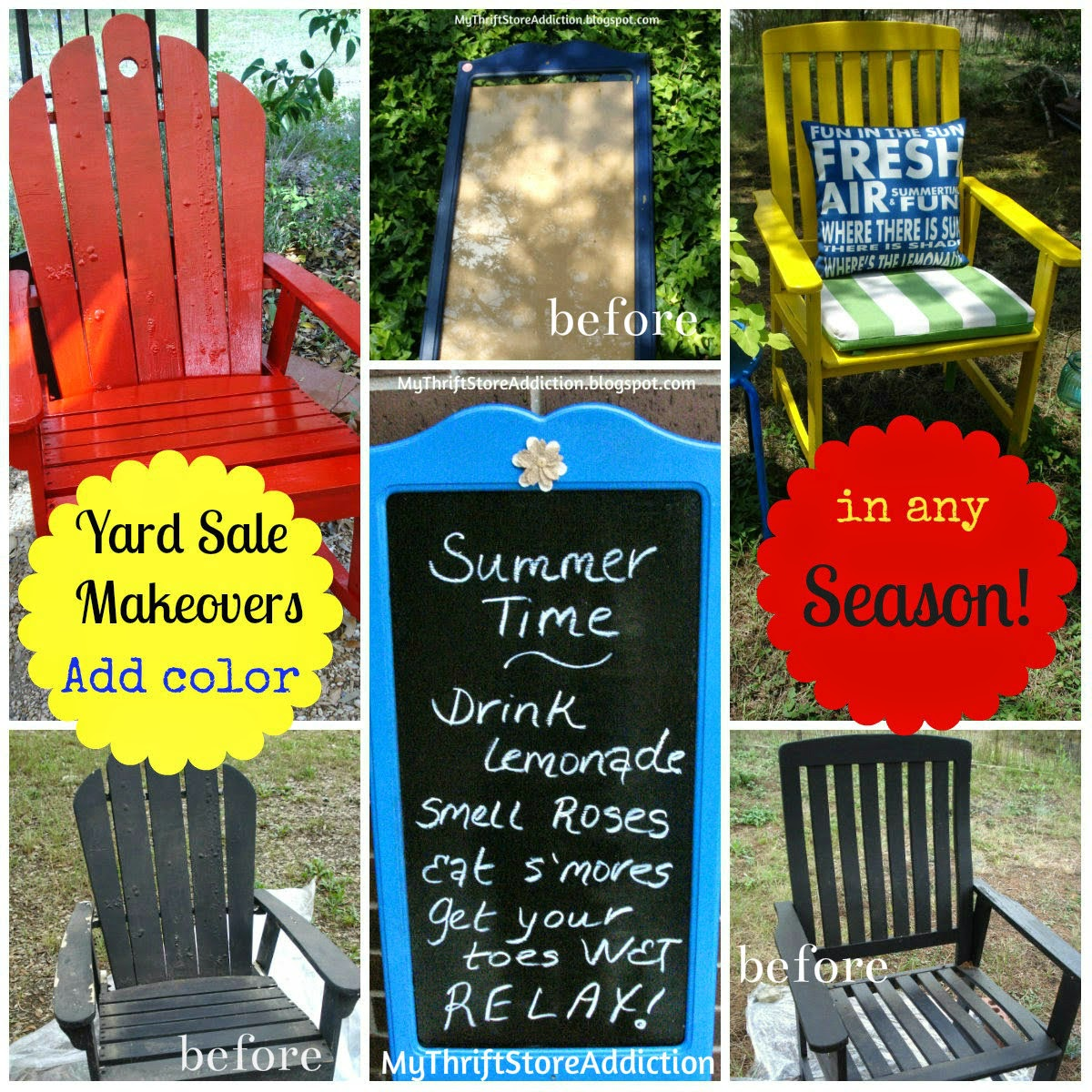 Add color with spray paint to outdoor furniture