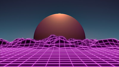 Computer grid image of a landscape with a planet halfway above the horizon.