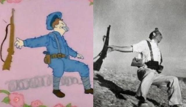 Muerte de un miliciano, Los Simpsons