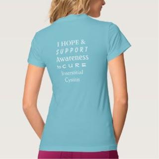 Turquoise Interstitial Cystitis (IC) Awareness Ribbon Angel Custom Art Shirt (Back)