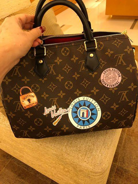 Lv Handbags Lovers Speedy Bandouliere 30 My Lv World Tour 2018 Black Leather Handles