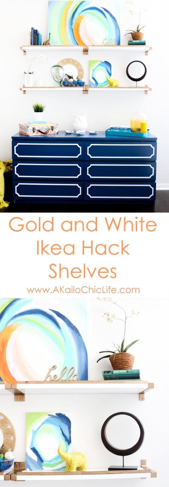 Gold and white ikea hack shelves tutorial - diy project - home decor project