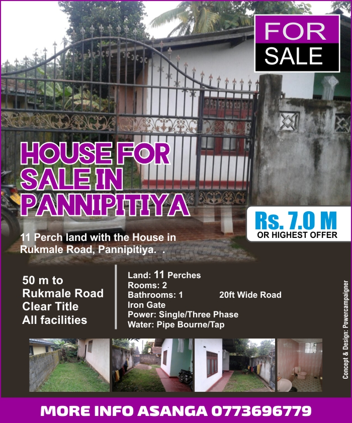 11 Perch Land with the House for Sale in Pannipitiya.