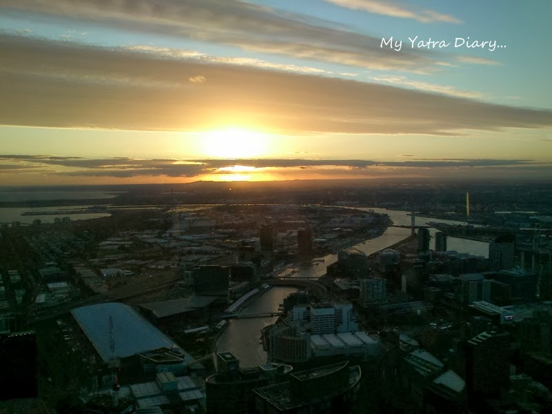 Sun setting at the Eureka Sky deck, Melbourne Victoria Australia