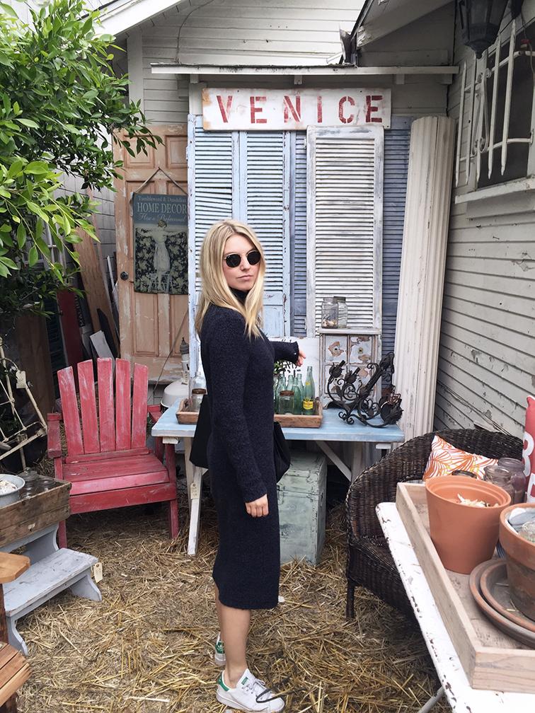 Free People sweater dress, Adidas Stan Smith, Céline Edge bag, Venice Beach, Los Angeles, California