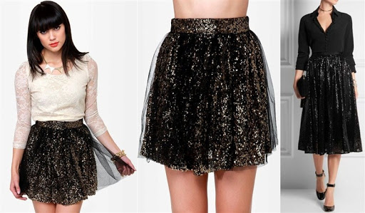 Black and Gold Sequin Tulle Skirt
