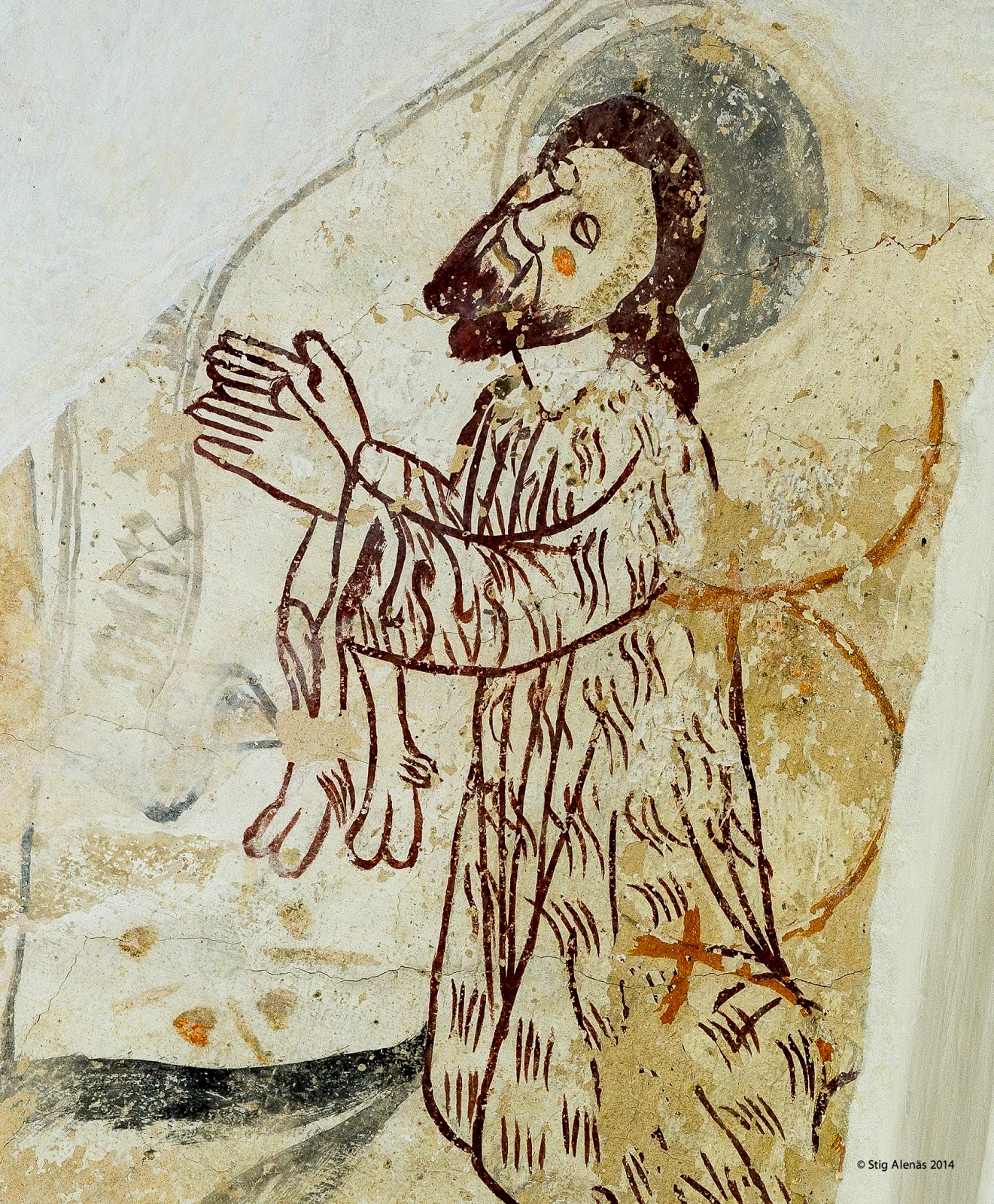 kneeling, john, middle, guide, halo, editorial, sweden, church, ages, baptist, hair, fresco, camel, toe, camel skins, john the baptist, ilstorp. https://www.shutterstock.com/image-photo/john-baptist-clothes-made-camel-skin-483866053