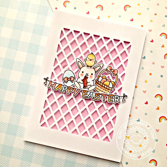 Sunny Studio Stamps: Frilly Frames Chubby Bunny Happy Easter Card by Franci Vignoli