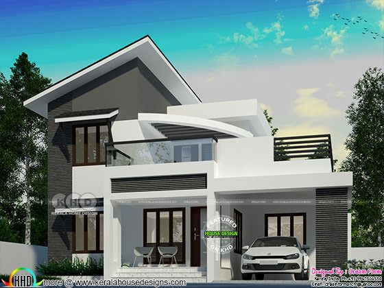 Slanting roof mix modern 4 BHK house design