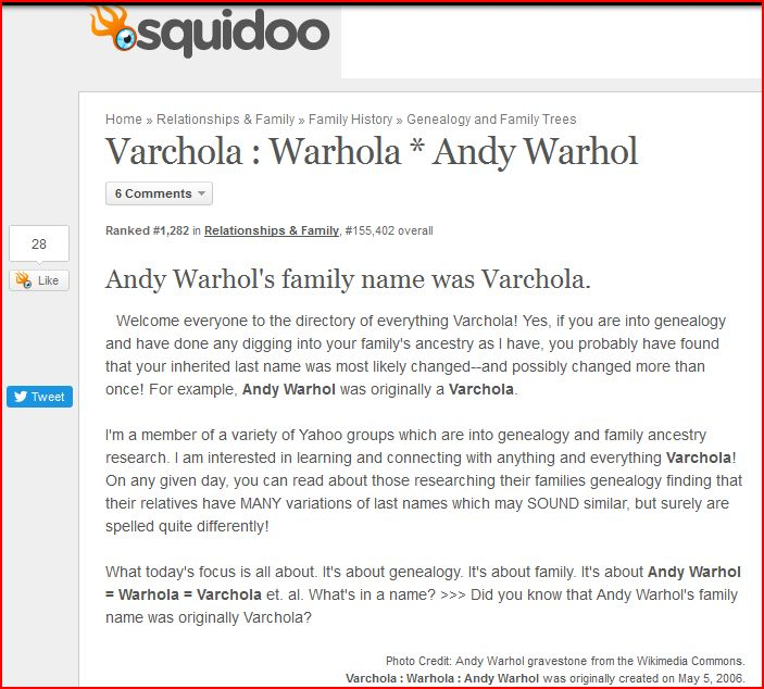 Julie Ann Brady : Blog On: Varchola Family Name