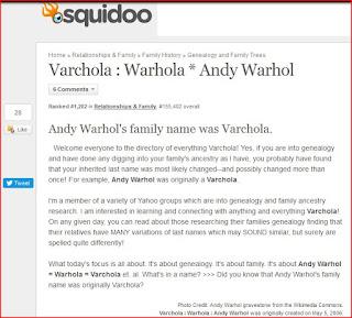 Varchola Warhola Andy Warhol Squidoo lens screen capture
