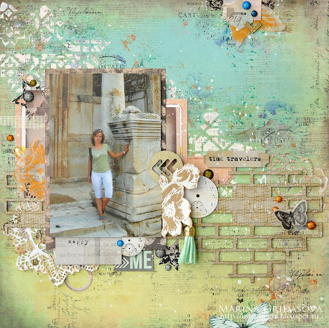time travelers @akonitt #bluefern #7dots #layout #mixedmedia #by_marina_gridasova