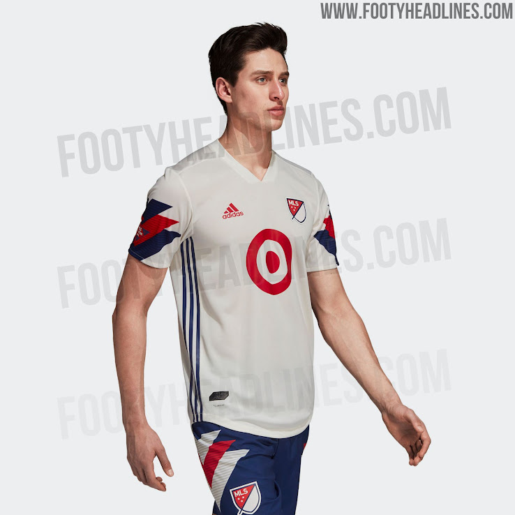 7e55cf2c024 4 of 4. The shorts of the Adidas MLS All-Star 2018 kit are navy with  classic bold 1990s white   red ...