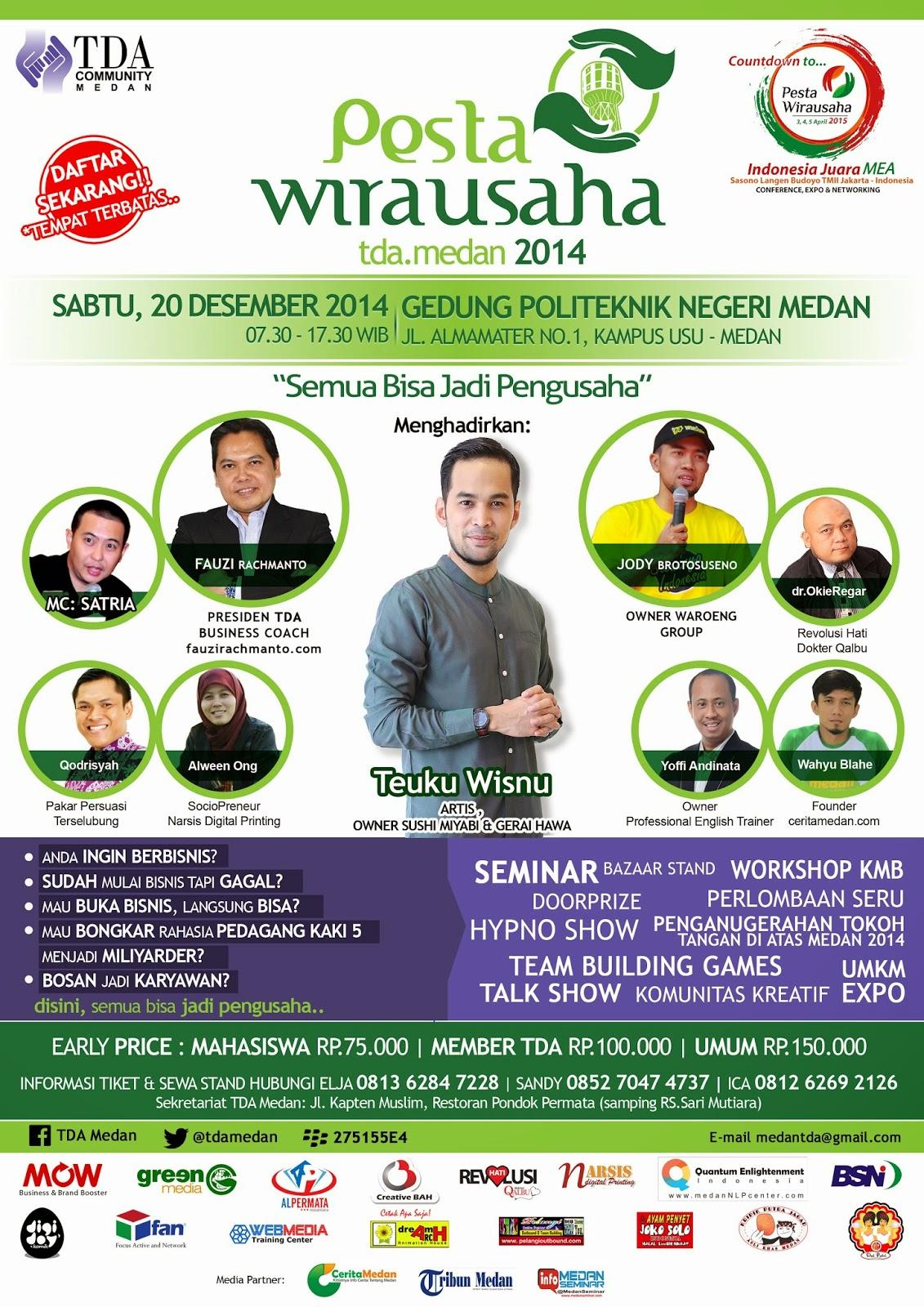 Pesta Wirausaha TDA Medan 2014 : Semua Bisa Jadi Pengusaha