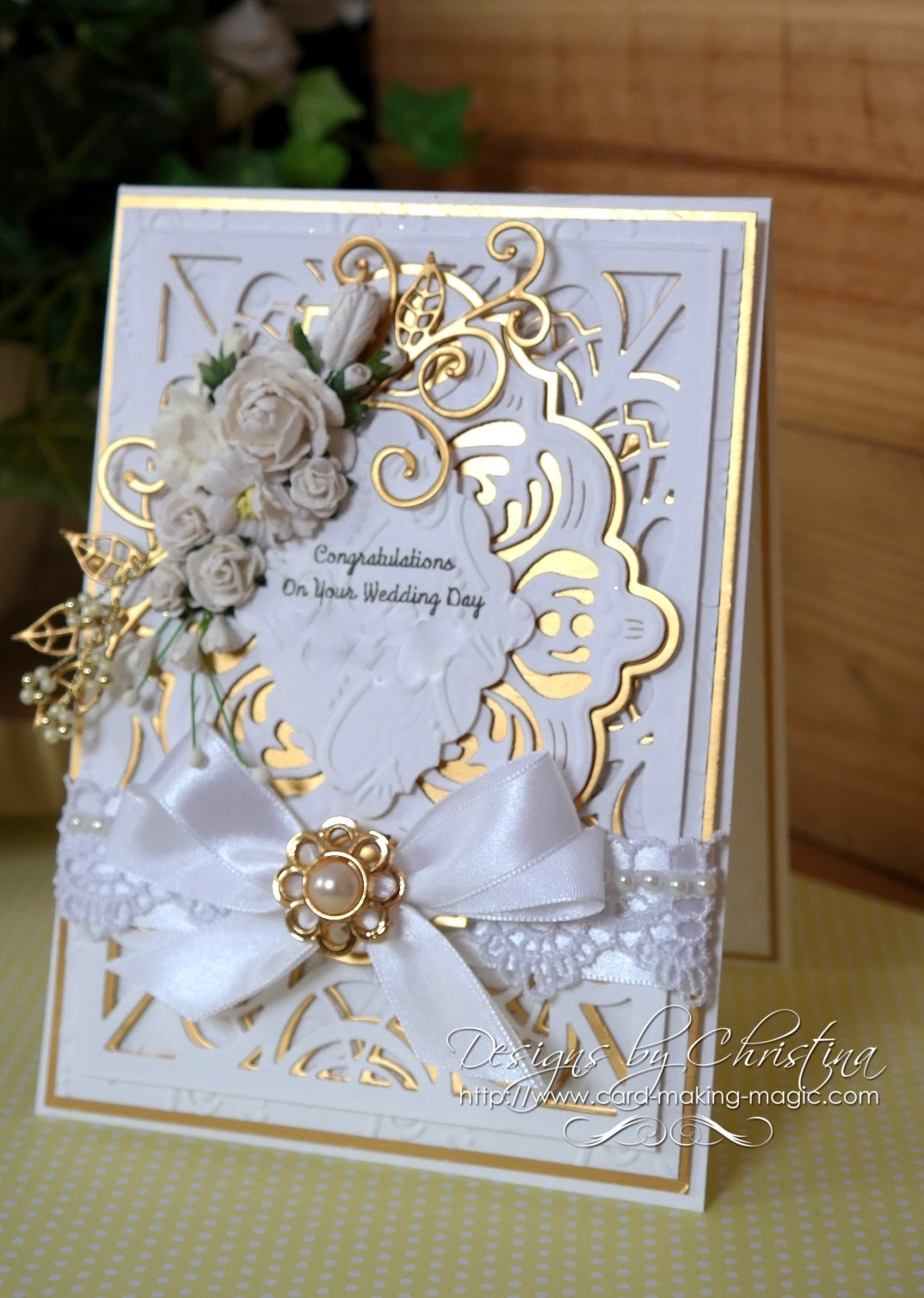 flowers ribbons and pearls wedding day card