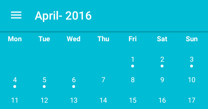 Android App Development for Phones/Tablets: CalendarView