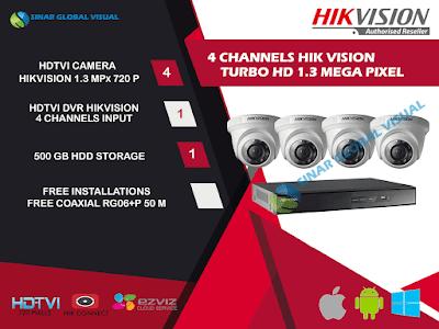 Paket Pasang 4 Kamera HIKVISION 720P