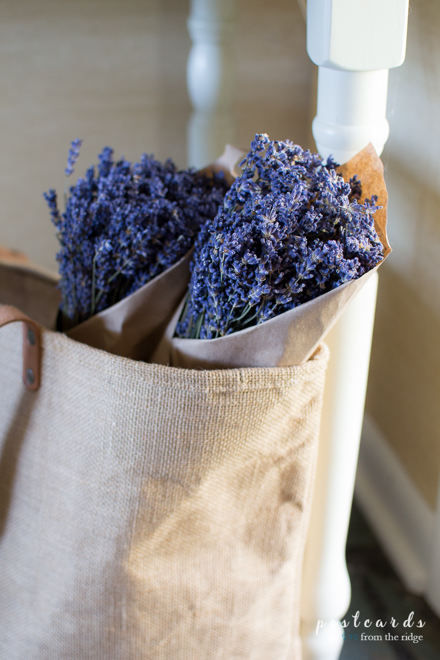 lavender bundles in a burlap tote bag