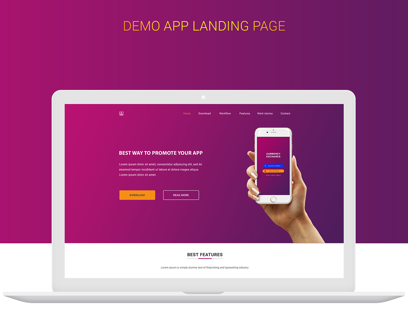Download Free Money Exchange App Landing Page Template Graphics Jungle