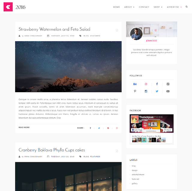 2016 Responsive - Personal Blogger Template