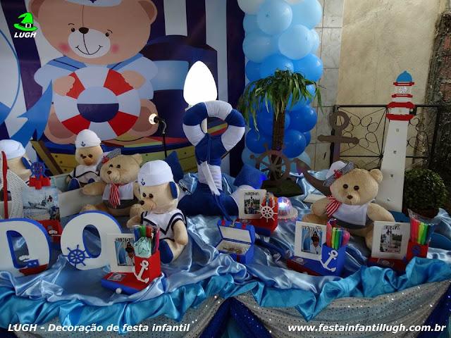 Decoração de aniversário Ursinho Marinheiro - Festa infantil