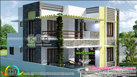 4 BHK Modern house plan in an area of 1957 square feet