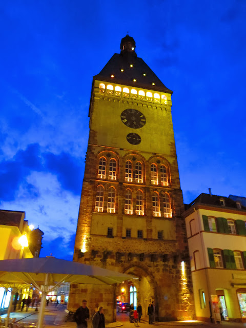 Clocktower in Speyer Germany after dark
